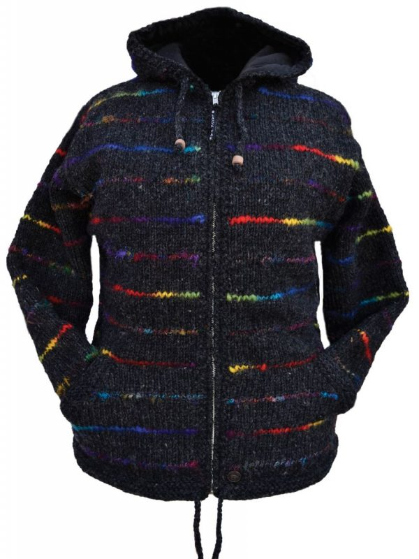 FLEECE LINED JACKET WITH SOFT WOOL BLACK