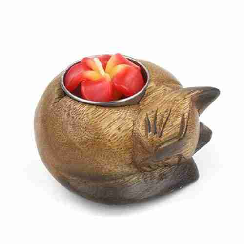Curled Cat t-light Holder