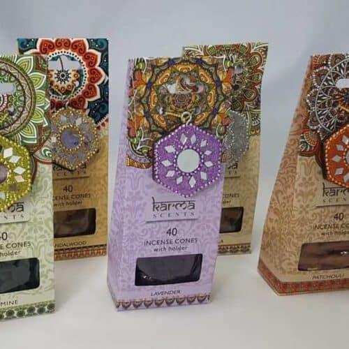 Karma scents 40 incense cones & holder
