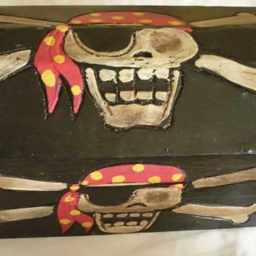 Skull and crossbone pirate chests