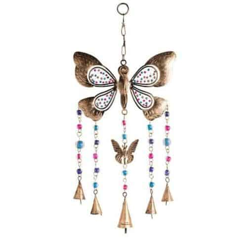 Multi bead butterfly windchime with bells