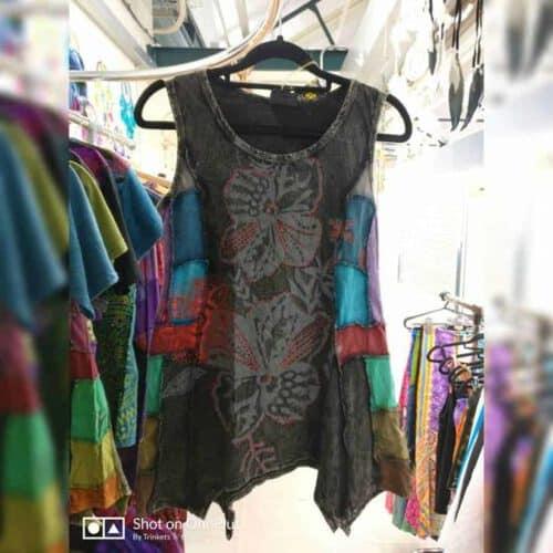 Cotton Sinka with Flower Screen Vest Top – Black