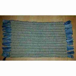 Rag Rug Mat: Small crocheted jute rag mat