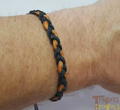 Leather and wax cotton bracelet