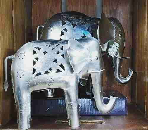 Handmade Nickel Indian Elephant Tealight Holder