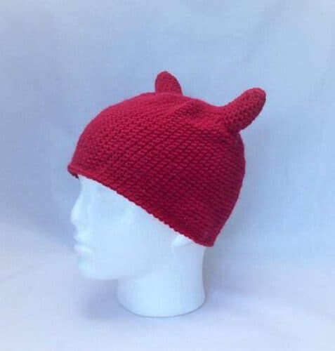 Fun Novelty Hat: Red Devil Hat with Horns. Crocheted. Handmade in the UK