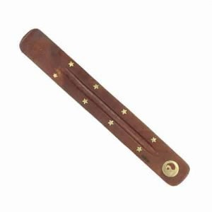 Wooden incense holder brass inlay