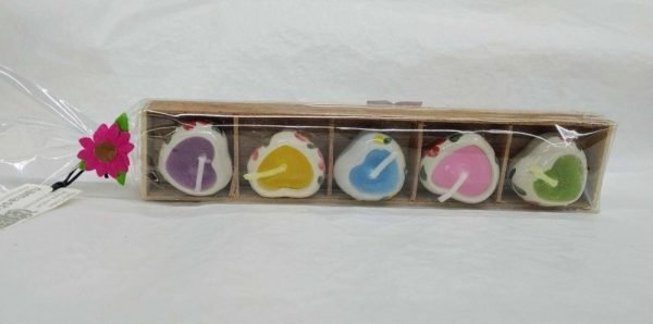 Tray of 5 hand painted ceramic heart mini candles