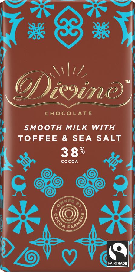 Divine Fair Trade Milk Toffee and Sea Salt Chocolate 90g